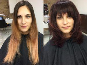 Budapest belvárosi fodrászat és körömszalon, OPEN Hair & Beauty szép barna frufru frizura Barcza Maximiliántól